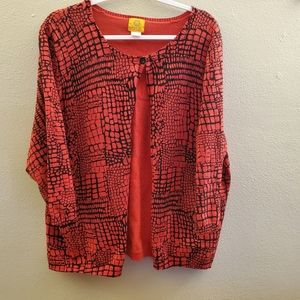 Ruby Rd Red One Button Cardigan Plus Size 2X